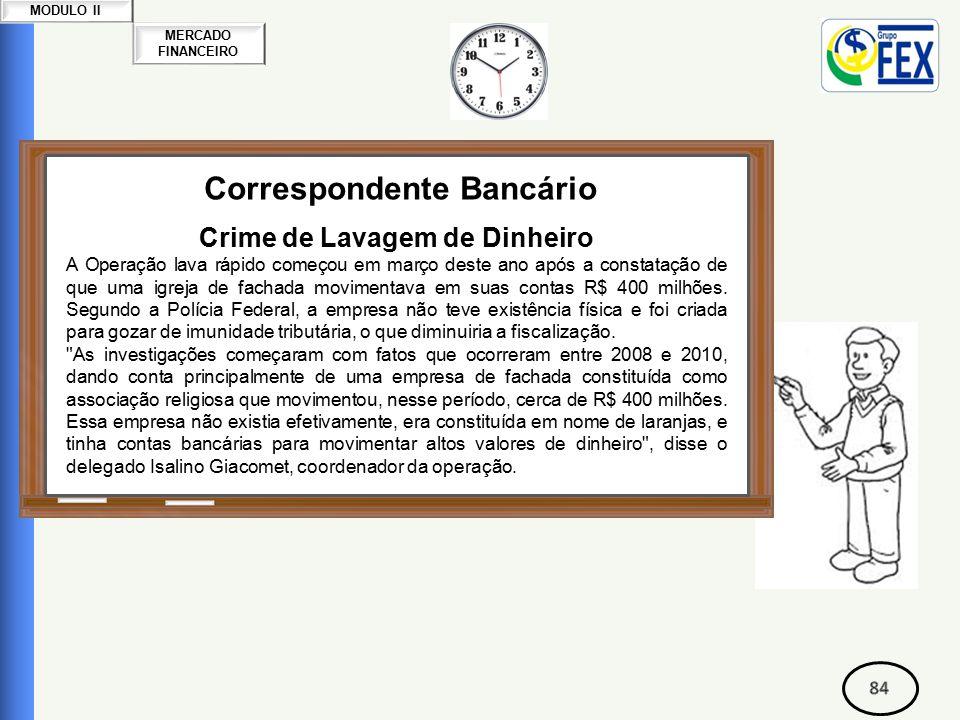 MERCADO FINANCEIRO MODULO II Correspondente Bancário Crime de Lavagem de Dinheiro A Operação lava rápido começou em março deste ano após a constatação de que uma igreja de fachada movimentava em suas contas R$ 400 milhões.