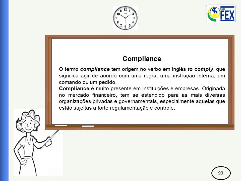 Correspondente Bancário Compliance O termo compliance tem origem no verbo em inglês to comply, que significa agir de acordo com uma regra, uma instrução interna, um comando ou um pedido.