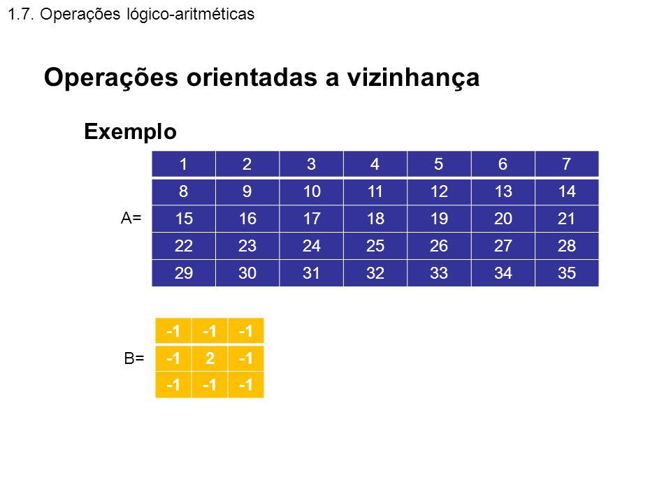 1.7. Operações lógico-aritméticas Operações orientadas a vizinhança Exemplo 2 A= 1234567 891011121314 15161718192021 22232425262728 29303132333435 B=