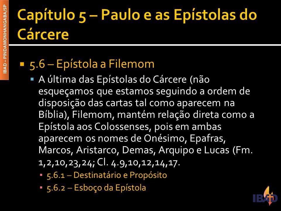IBAD – PINDAMONHANGABA/SP  5.6 – Epístola a Filemom  A última das Epístolas do Cárcere (não esqueçamos que estamos seguindo a ordem de disposição da