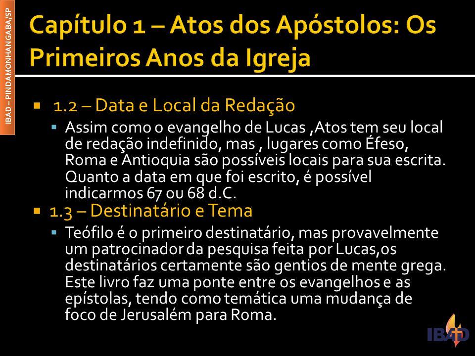 IBAD – PINDAMONHANGABA/SP  1.2 – Data e Local da Redação  Assim como o evangelho de Lucas,Atos tem seu local de redação indefinido, mas, lugares com