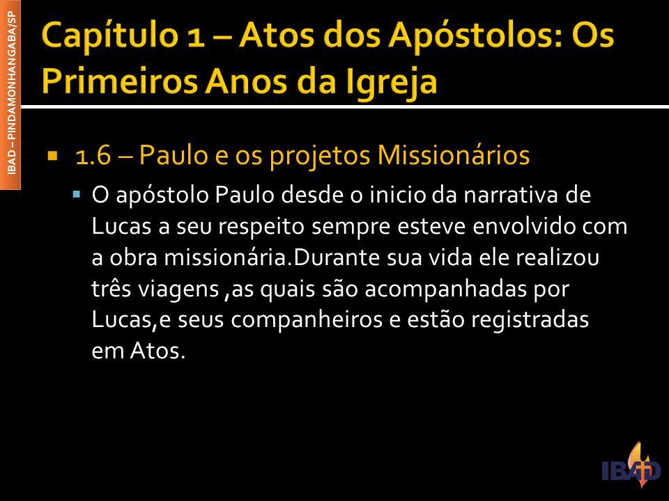 IBAD – PINDAMONHANGABA/SP  1.6 – Paulo e os projetos Missionários  O apóstolo Paulo desde o inicio da narrativa de Lucas a seu respeito sempre estev