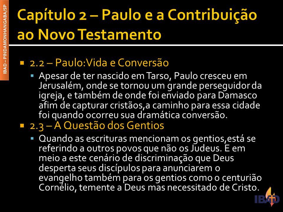 IBAD – PINDAMONHANGABA/SP  2.2 – Paulo:Vida e Conversão  Apesar de ter nascido em Tarso, Paulo cresceu em Jerusalém, onde se tornou um grande perseg