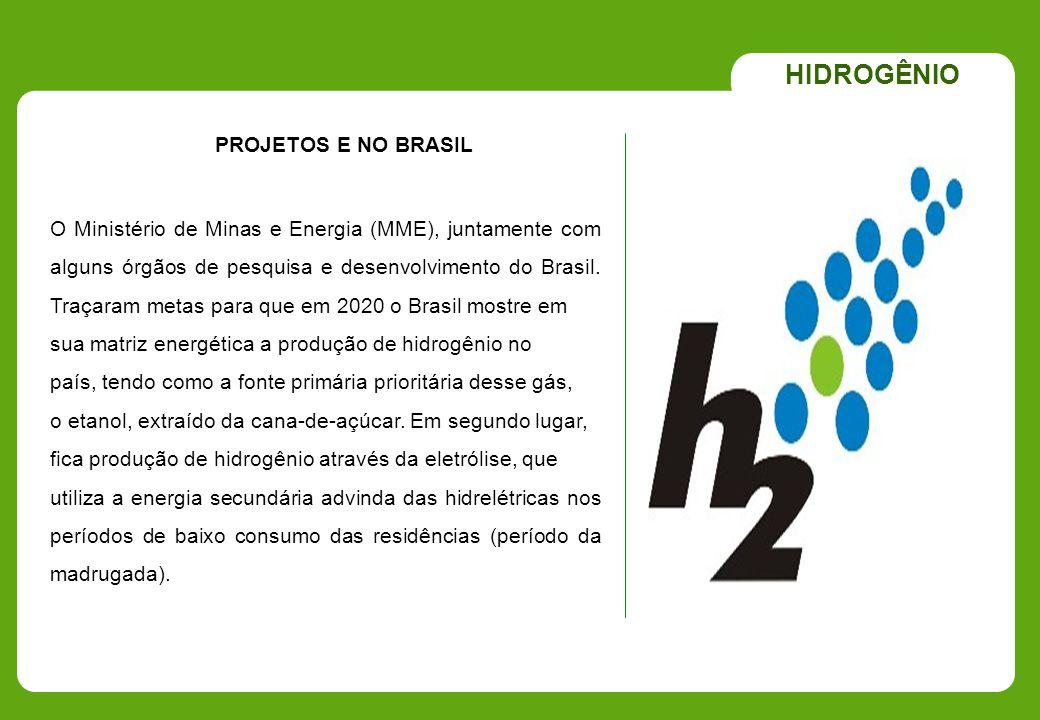 PROJETOS E NO BRASIL HIDROGÊNIO O Ministério de Minas e Energia (MME), juntamente com alguns órgãos de pesquisa e desenvolvimento do Brasil. Traçaram