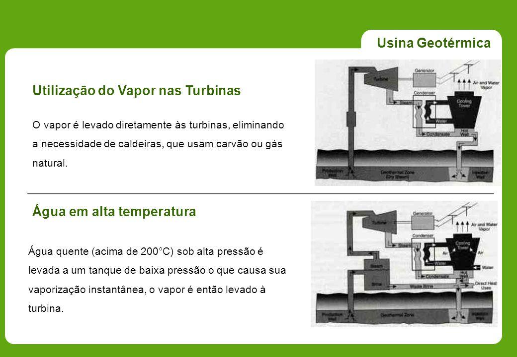 Usina Geotérmica Utilização do Vapor nas Turbinas O vapor é levado diretamente às turbinas, eliminando a necessidade de caldeiras, que usam carvão ou