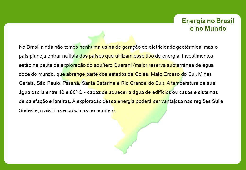Energia no Brasil e no Mundo No Brasil ainda não temos nenhuma usina de geração de eletricidade geotérmica, mas o país planeja entrar na lista dos paí