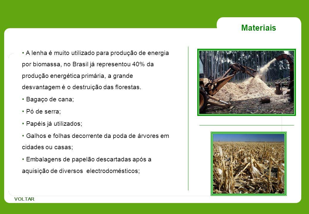 Materiais A lenha é muito utilizado para produção de energia por biomassa, no Brasil já representou 40% da produção energética primária, a grande desv