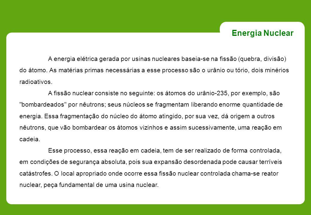 A energia elétrica gerada por usinas nucleares baseia-se na fissão (quebra, divisão) do átomo. As matérias primas necessárias a esse processo são o ur