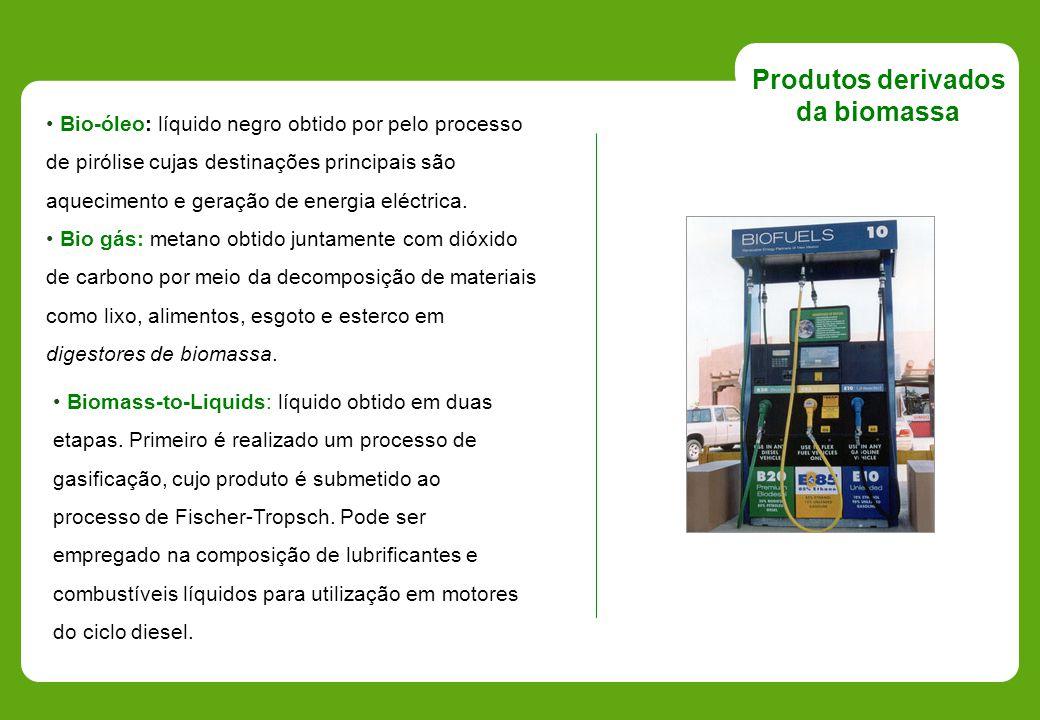 Biomass-to-Liquids: líquido obtido em duas etapas. Primeiro é realizado um processo de gasificação, cujo produto é submetido ao processo de Fischer-Tr