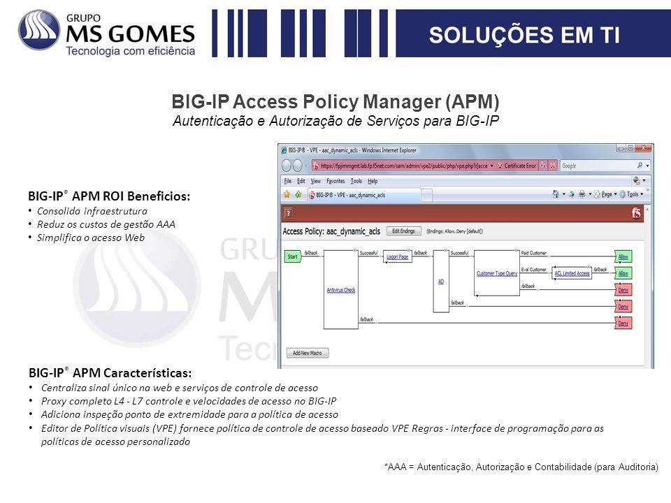 BIG-IP Access Policy Manager (APM) Autenticação e Autorização de Serviços para BIG-IP BIG-IP ® APM Características: Centraliza sinal único na web e se