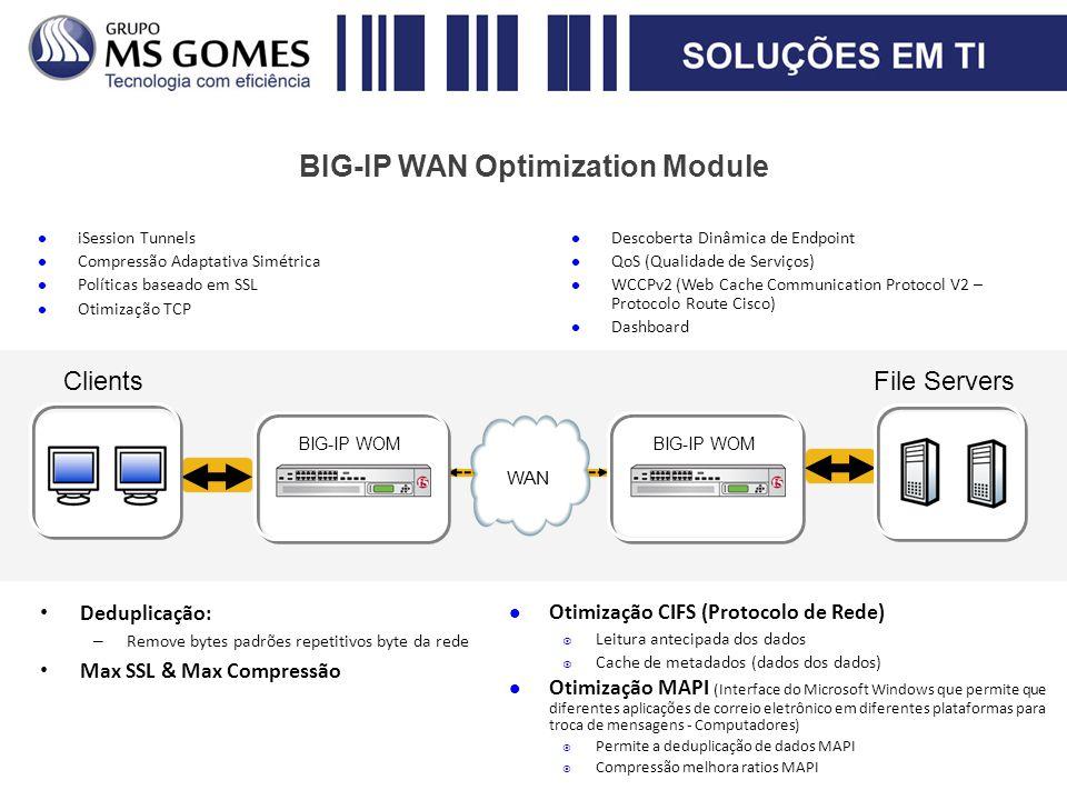 BIG-IP WAN Optimization Module Deduplicação: – Remove bytes padrões repetitivos byte da rede Max SSL & Max Compressão Otimização CIFS (Protocolo de Re