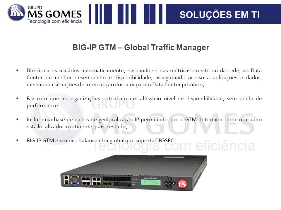 BIG-IP GTM – Global Traffic Manager Direciona os usuários automaticamente, baseando-se nas métricas do site ou da rede, ao Data Center de melhor desem