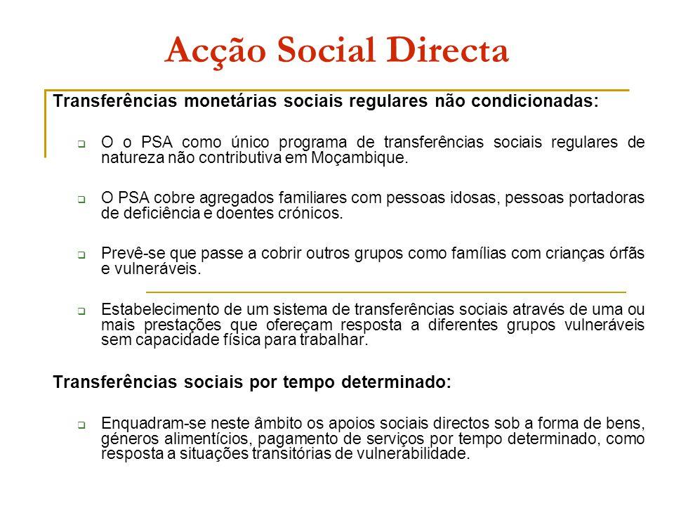 Acção Social Directa Transferências monetárias sociais regulares não condicionadas:  O o PSA como único programa de transferências sociais regulares