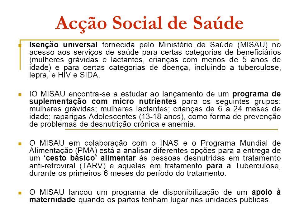 Acção Social de Saúde Isenção universal fornecida pelo Ministério de Saúde (MISAU) no acesso aos serviços de saúde para certas categorias de beneficiá
