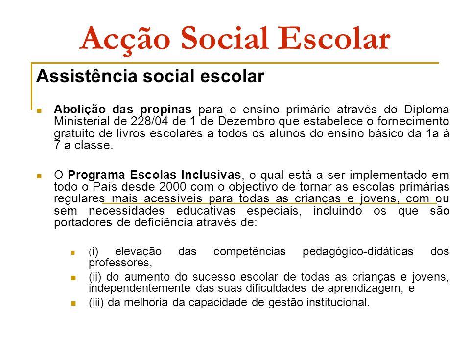 Acção Social Escolar Assistência social escolar Abolição das propinas para o ensino primário através do Diploma Ministerial de 228/04 de 1 de Dezembro