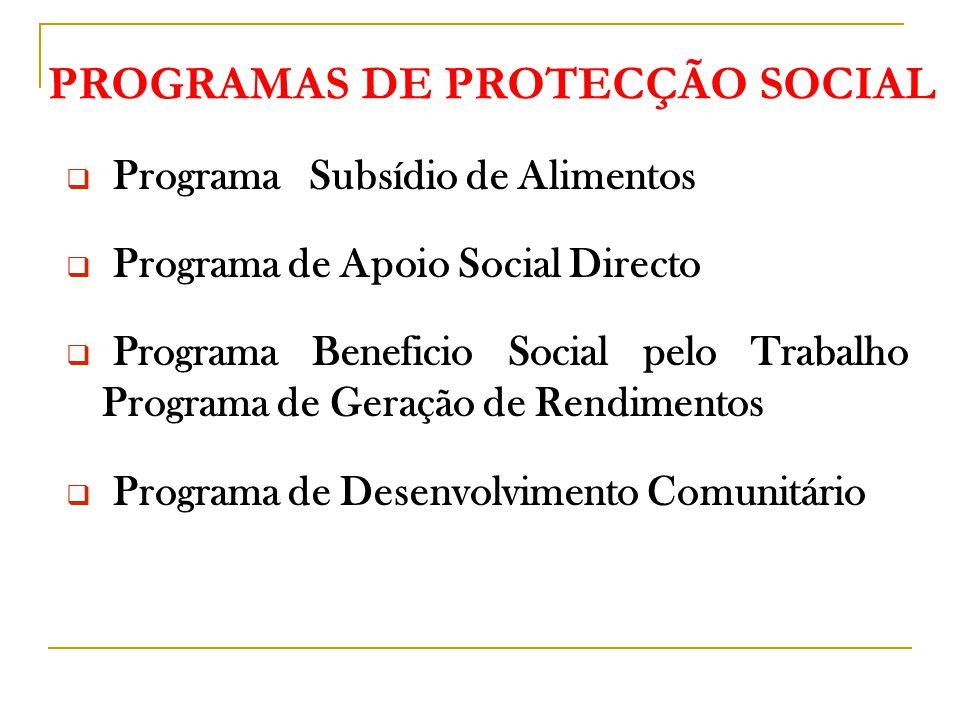 PROGRAMAS DE PROTECÇÃO SOCIAL  Programa Subsídio de Alimentos  Programa de Apoio Social Directo  Programa Beneficio Social pelo Trabalho Programa de Geração de Rendimentos  Programa de Desenvolvimento Comunitário