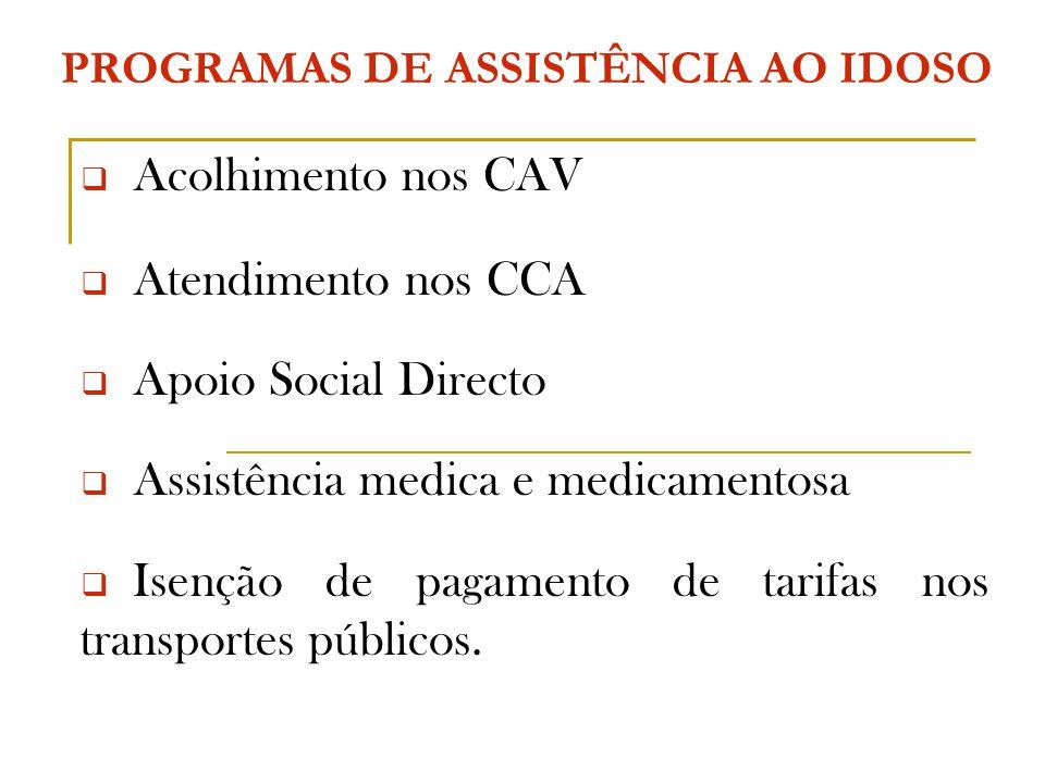 PROGRAMAS DE ASSISTÊNCIA AO IDOSO  Acolhimento nos CAV  Atendimento nos CCA  Apoio Social Directo  Assistência medica e medicamentosa  Isenção de pagamento de tarifas nos transportes públicos.