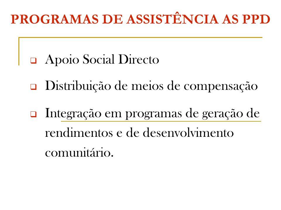 PROGRAMAS DE ASSISTÊNCIA AS PPD  Apoio Social Directo  Distribuição de meios de compensação  Integração em programas de geração de rendimentos e de