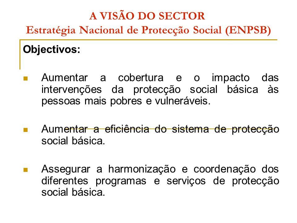A VISÃO DO SECTOR Estratégia Nacional de Protecção Social (ENPSB) Eixos da ENPSB:  Acção Social Directa, gerida pelo Ministério que superintende a área da acção social;  Acção Social de Saúde, gerida pelo Ministério que superintende a área da saúde;  Acção Social Escolar, gerida pelo Ministério que superintende a área da educação;  Acção Social Produtiva, gerida de forma partilhada pelo MMAS, MPD, MINAG, MITRAB, MOPH, MAE.