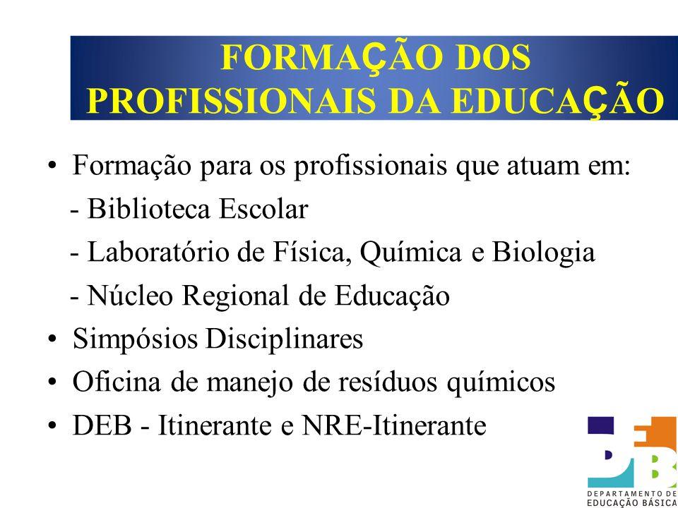 Formação para os profissionais que atuam em: - Biblioteca Escolar - Laboratório de Física, Química e Biologia - Núcleo Regional de Educação Simpósios
