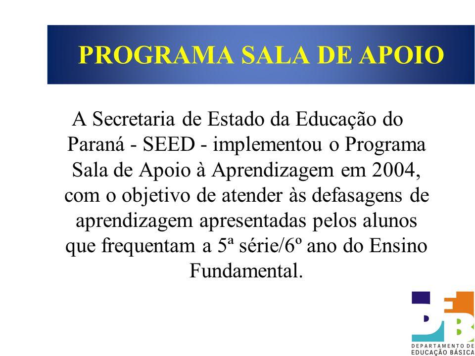 A Secretaria de Estado da Educação do Paraná - SEED - implementou o Programa Sala de Apoio à Aprendizagem em 2004, com o objetivo de atender às defasa