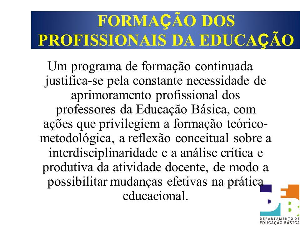 Um programa de formação continuada justifica-se pela constante necessidade de aprimoramento profissional dos professores da Educação Básica, com ações