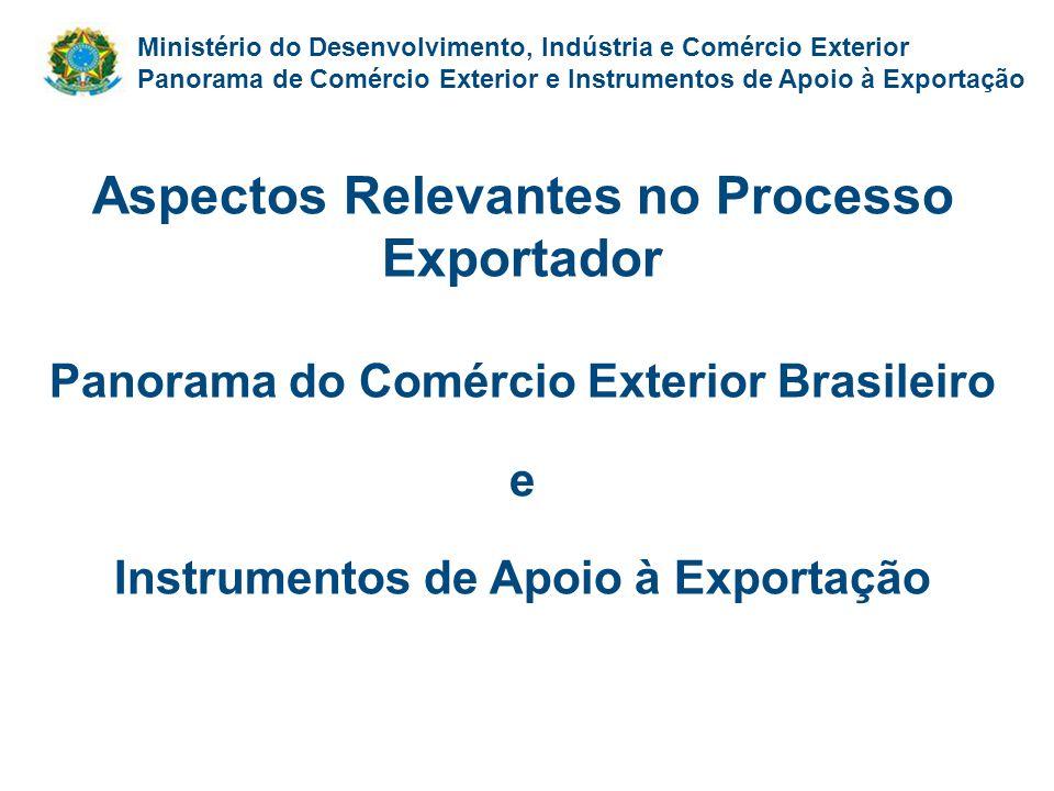 Ministério do Desenvolvimento, Indústria e Comércio Exterior Panorama de Comércio Exterior e Instrumentos de Apoio à Exportação Aspectos Relevantes no