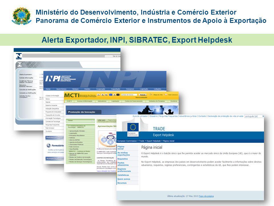 Ministério do Desenvolvimento, Indústria e Comércio Exterior Panorama de Comércio Exterior e Instrumentos de Apoio à Exportação Alerta Exportador, INP