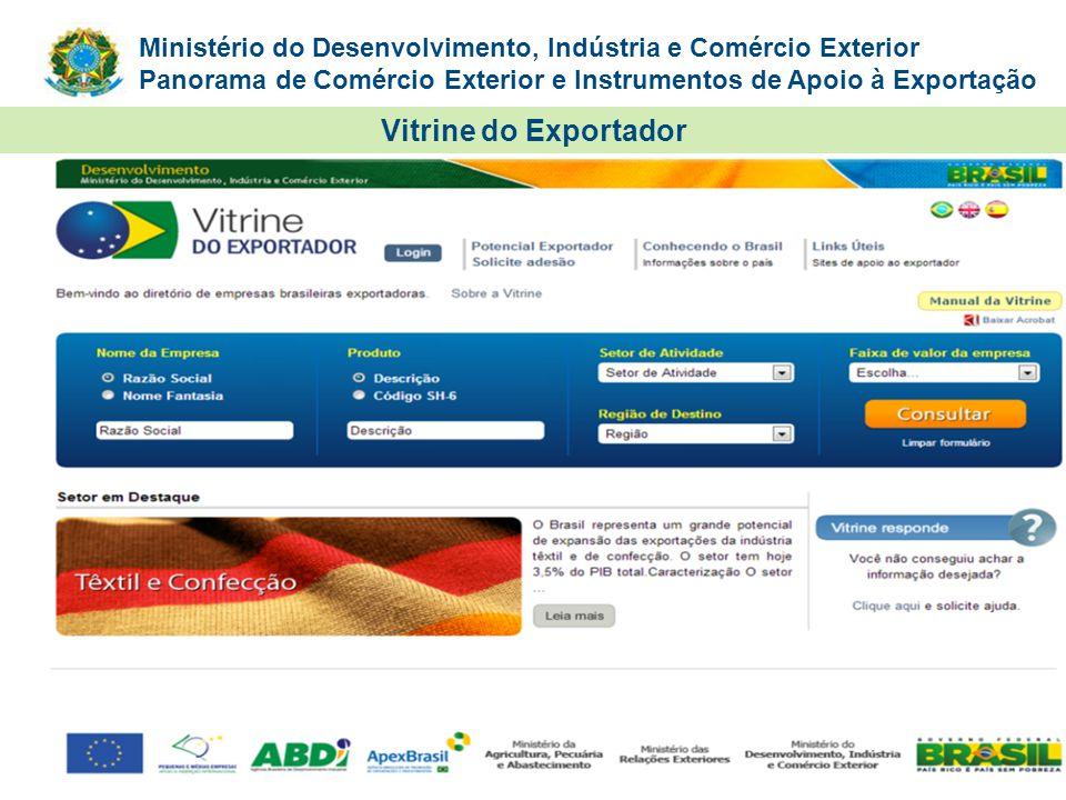 Ministério do Desenvolvimento, Indústria e Comércio Exterior Panorama de Comércio Exterior e Instrumentos de Apoio à Exportação Vitrine do Exportador