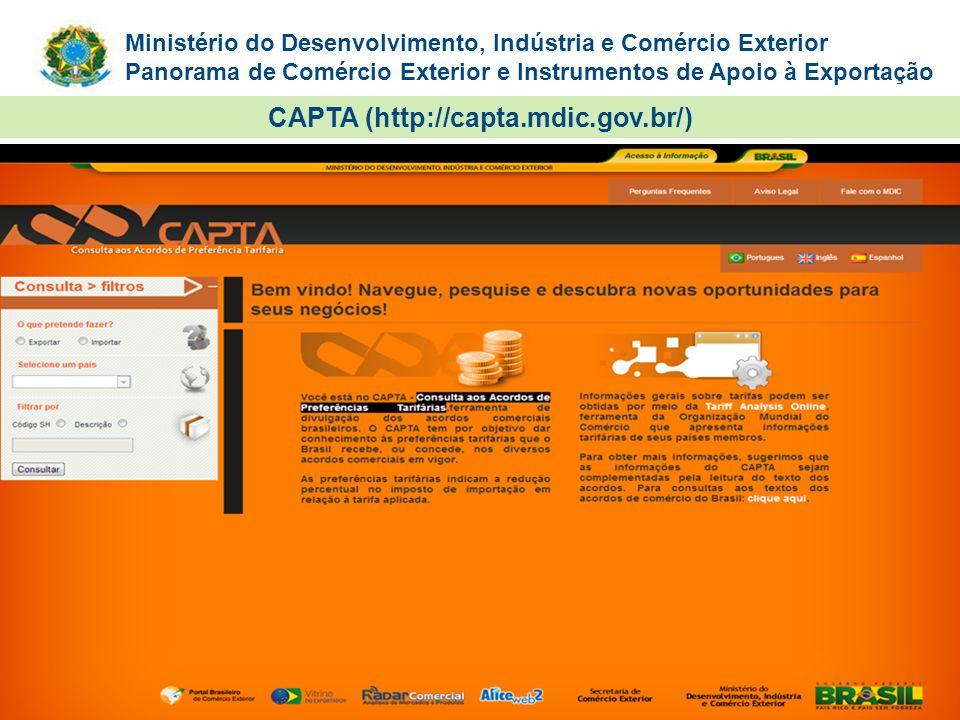 Ministério do Desenvolvimento, Indústria e Comércio Exterior Panorama de Comércio Exterior e Instrumentos de Apoio à Exportação CAPTA (http://capta.md