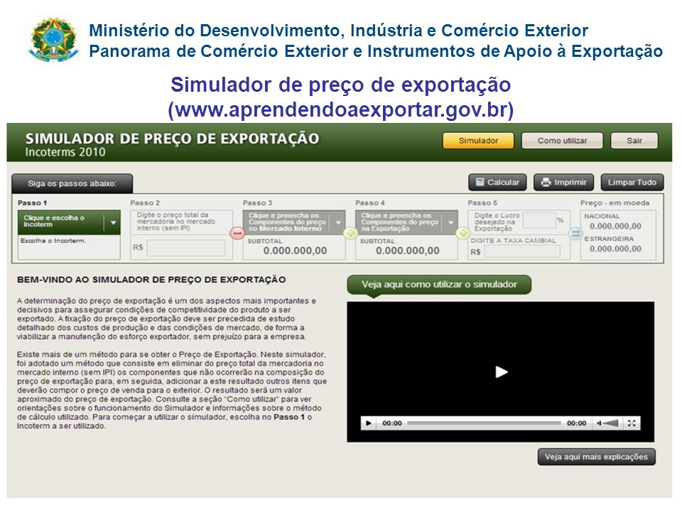 Ministério do Desenvolvimento, Indústria e Comércio Exterior Panorama de Comércio Exterior e Instrumentos de Apoio à Exportação Simulador de preço de
