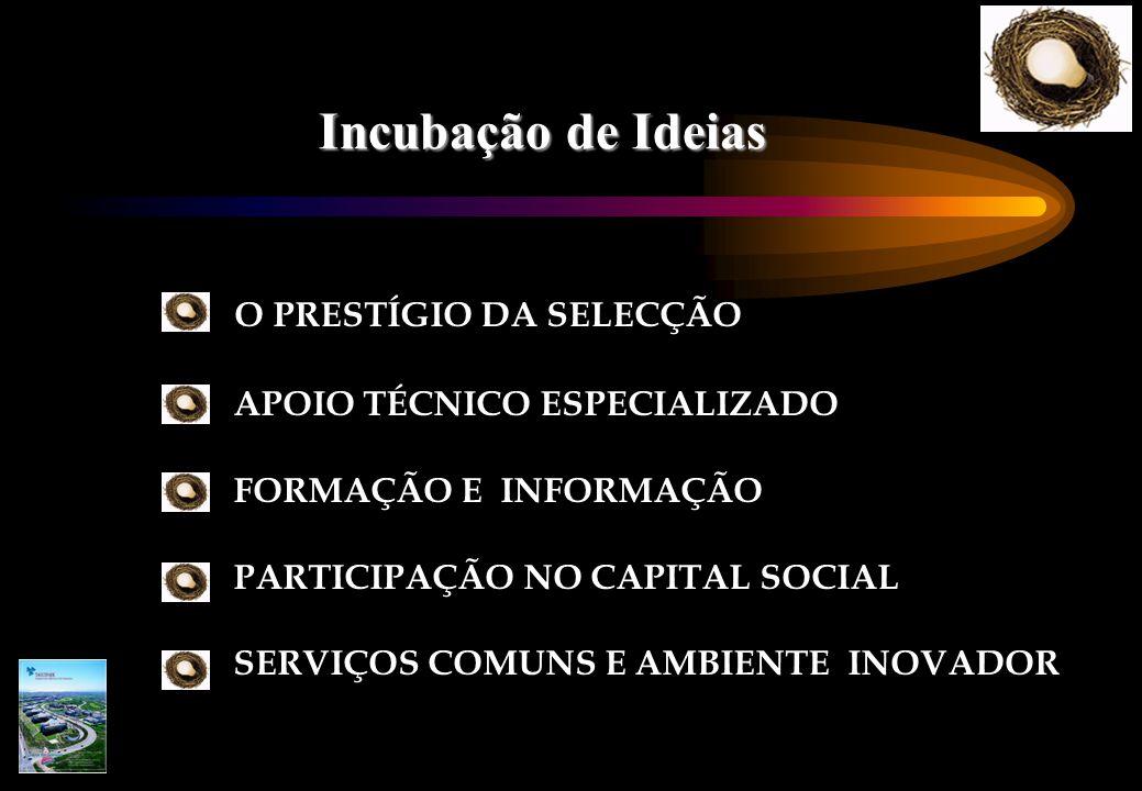 Incubação de Ideias  O PRESTÍGIO DA SELECÇÃO APOIO TÉCNICO ESPECIALIZADO FORMAÇÃO E INFORMAÇÃO PARTICIPAÇÃO NO CAPITAL SOCIAL SERVIÇOS COMUNS E AMBIENTE INOVADOR
