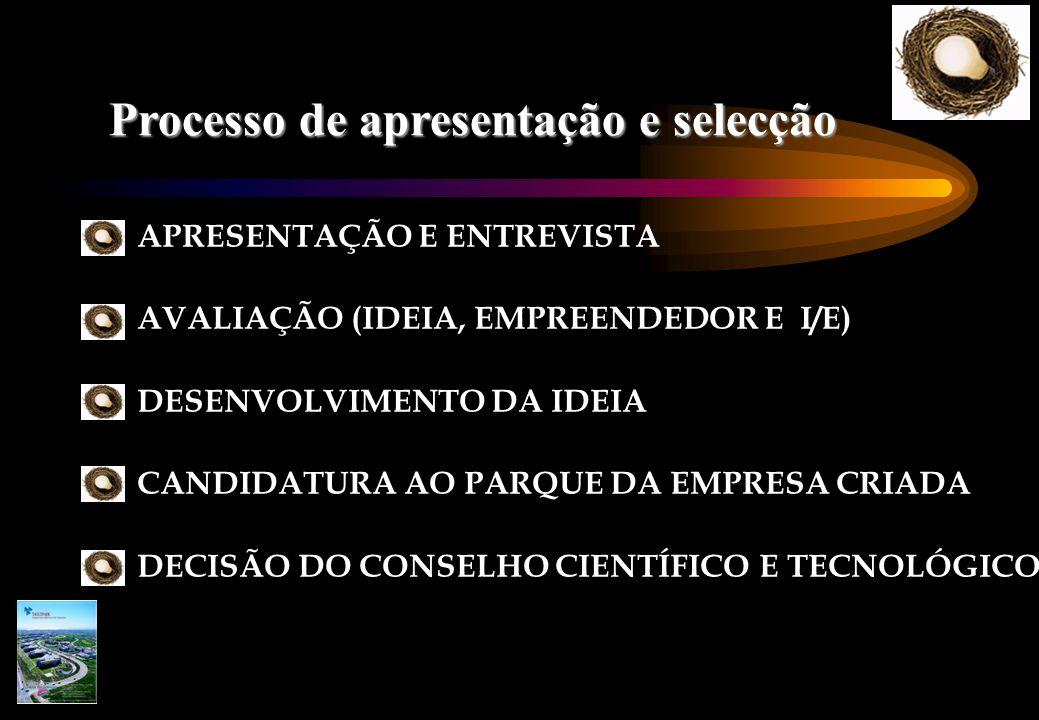 Processo de apresentação e selecção APRESENTAÇÃO E ENTREVISTA AVALIAÇÃO (IDEIA, EMPREENDEDOR E I/E) DESENVOLVIMENTO DA IDEIA CANDIDATURA AO PARQUE DA EMPRESA CRIADA DECISÃO DO CONSELHO CIENTÍFICO E TECNOLÓGICO