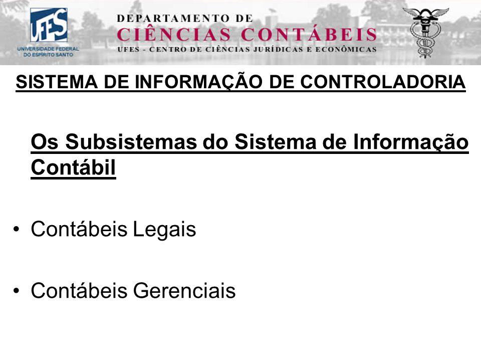 SISTEMA DE INFORMAÇÃO DE CONTROLADORIA Os Subsistemas do Sistema de Informação Contábil Contábeis Legais Contábeis Gerenciais