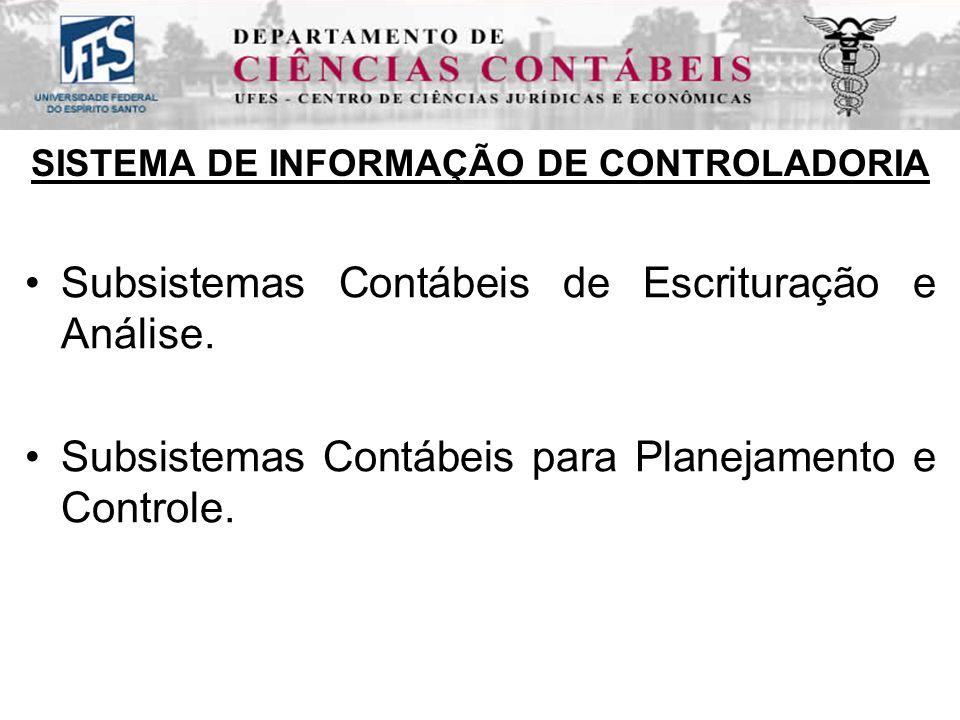 SISTEMA DE INFORMAÇÃO DE CONTROLADORIA Subsistemas Contábeis de Escrituração e Análise.