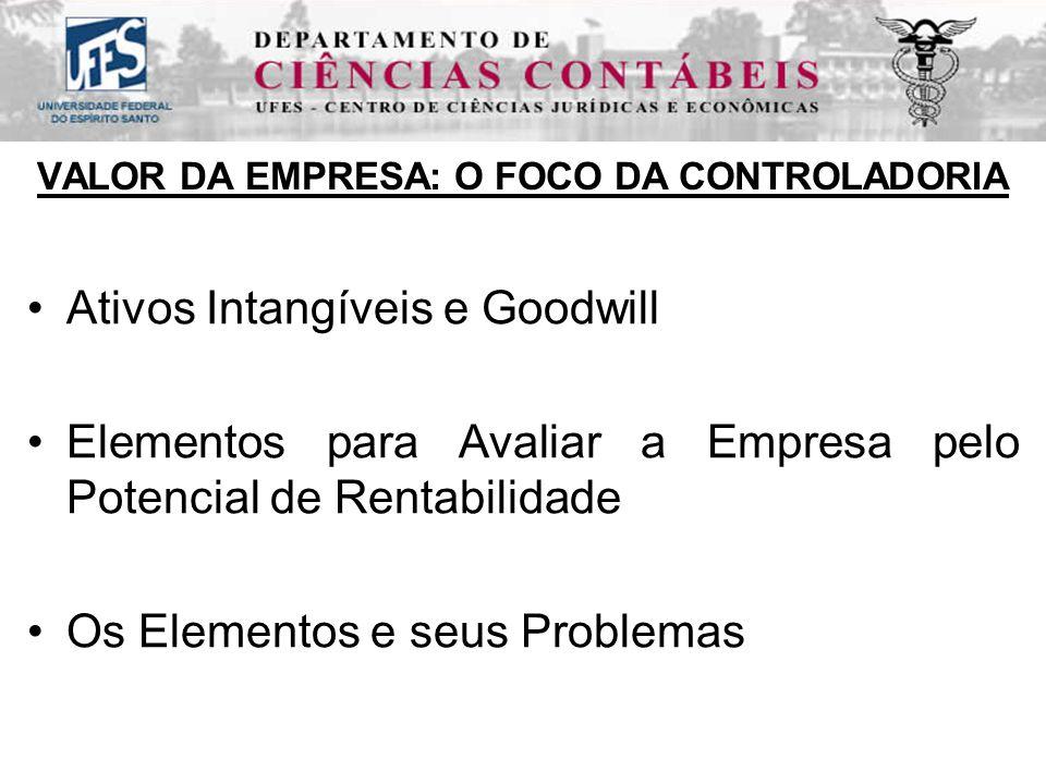 VALOR DA EMPRESA: O FOCO DA CONTROLADORIA Ativos Intangíveis e Goodwill Elementos para Avaliar a Empresa pelo Potencial de Rentabilidade Os Elementos e seus Problemas