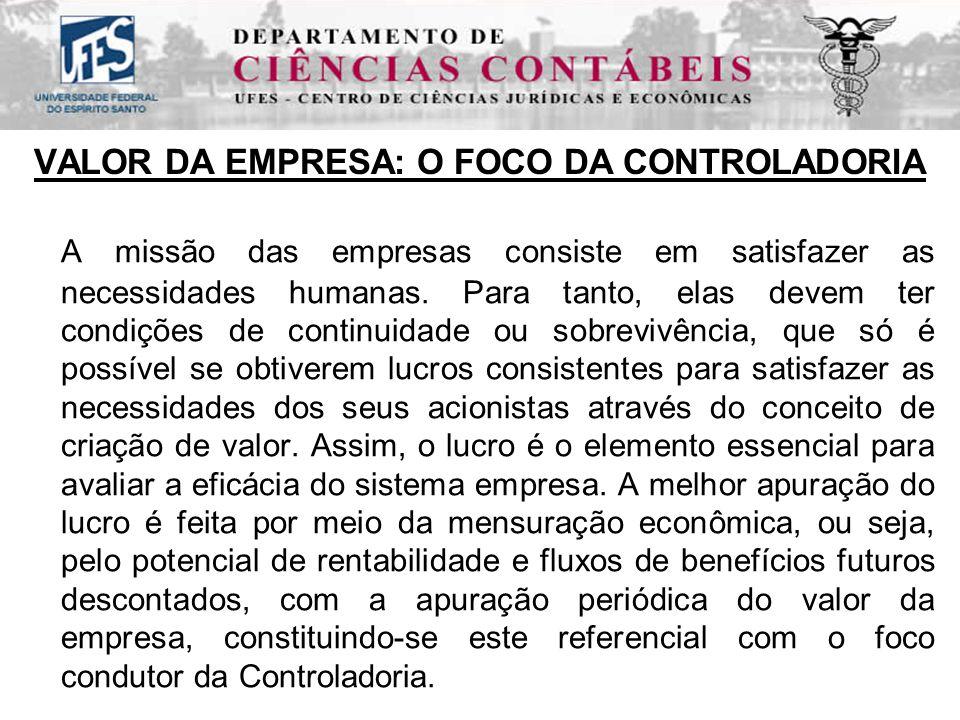 VALOR DA EMPRESA: O FOCO DA CONTROLADORIA A missão das empresas consiste em satisfazer as necessidades humanas.