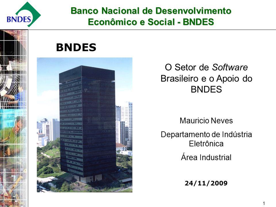 1 24/11/2009 BNDES O Setor de Software Brasileiro e o Apoio do BNDES Mauricio Neves Departamento de Indústria Eletrônica Área Industrial Banco Nacional de Desenvolvimento Econômico e Social - BNDES