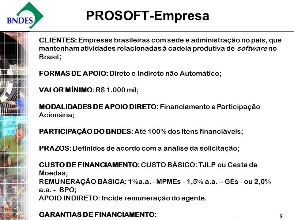 9 PROSOFT-Empresa CLIENTES: Empresas brasileiras com sede e administração no país, que mantenham atividades relacionadas à cadeia produtiva de software no Brasil ; FORMAS DE APOIO: Direto e Indireto não Automático; VALOR MÍNIMO: R$ 1.000 mil; MODALIDADES DE APOIO DIRETO: Financiamento e Participação Acionária; PARTICIPAÇÃO DO BNDES: Até 100% dos itens financiáveis; PRAZOS: Definidos de acordo com a análise da solicitação; CUSTO DE FINANCIAMENTO: CUSTO BÁSICO: TJLP ou Cesta de Moedas; REMUNERAÇÃO BÁSICA: 1%a.a.