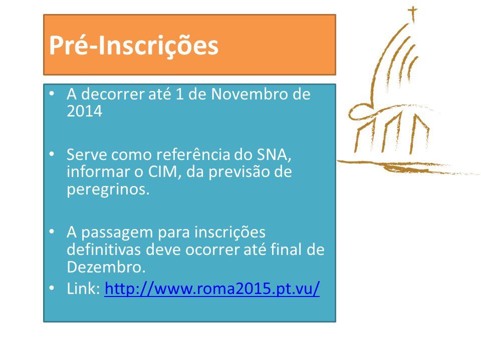 Pré-Inscrições A decorrer até 1 de Novembro de 2014 Serve como referência do SNA, informar o CIM, da previsão de peregrinos.