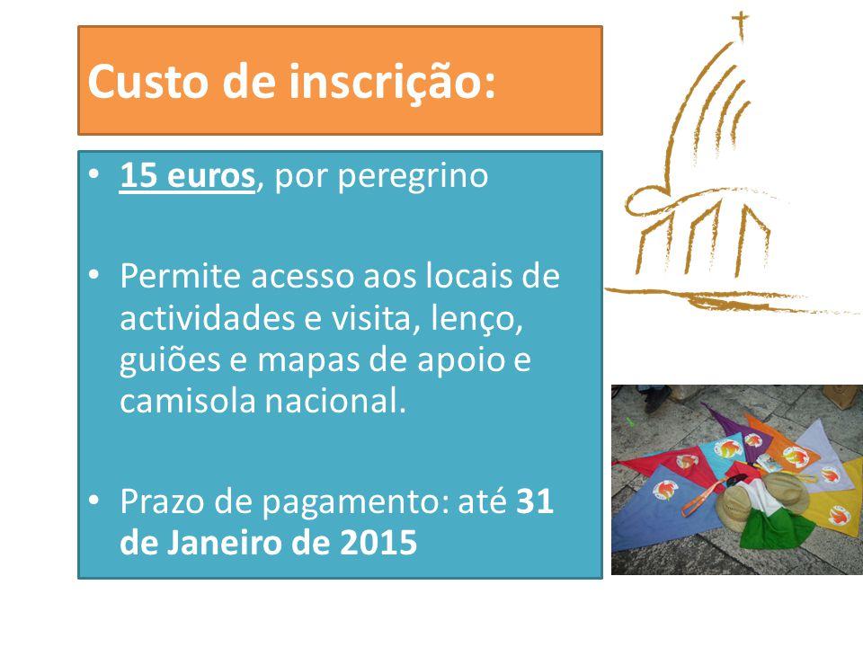 Custo de inscrição: 15 euros, por peregrino Permite acesso aos locais de actividades e visita, lenço, guiões e mapas de apoio e camisola nacional.