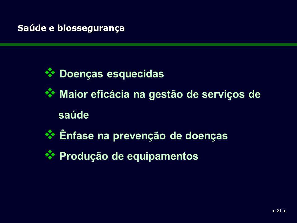  21  Saúde e biossegurança  Doenças esquecidas  Maior eficácia na gestão de serviços de saúde  Ênfase na prevenção de doenças  Produção de equipamentos
