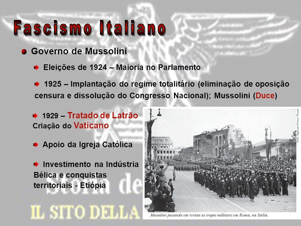 Governo de Mussolini Eleições de 1924 – Maioria no Parlamento 1925 – Implantação do regime totalitário (eliminação de oposição censura e dissolução do