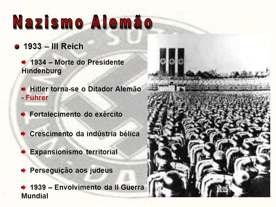 1933 – III Reich 1934 – Morte do Presidente Hindenburg Hitler torna-se o Ditador Alemão - Führer Fortalecimento do exército Crescimento da indústria b