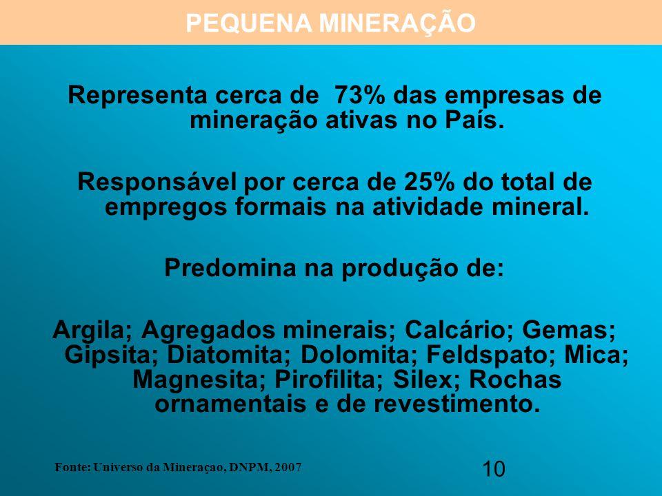 10 Representa cerca de 73% das empresas de mineração ativas no País. Responsável por cerca de 25% do total de empregos formais na atividade mineral. P