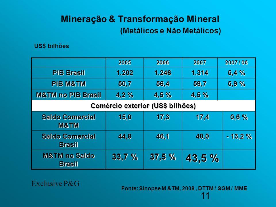 11 200520062007 2007 / 06 PIB Brasil 1.2021.2461.314 5,4 % PIB M&TM 50,756,459,7 5,9 % M&TM no PIB Brasil 4,2 % 4,5 % Comércio exterior (US$ bilhões)