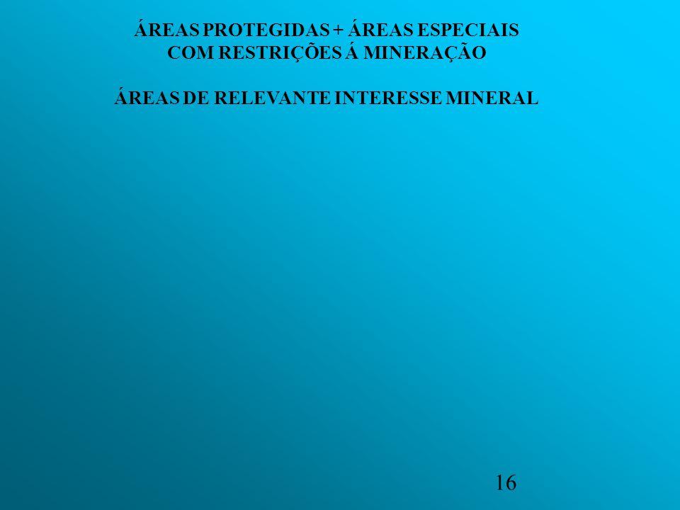 16 ÁREAS PROTEGIDAS + ÁREAS ESPECIAIS COM RESTRIÇÕES Á MINERAÇÃO ÁREAS DE RELEVANTE INTERESSE MINERAL