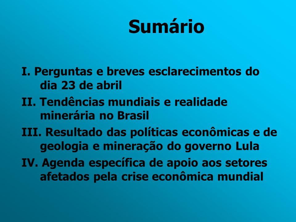 Sumário I. Perguntas e breves esclarecimentos do dia 23 de abril II. Tendências mundiais e realidade minerária no Brasil III. Resultado das políticas