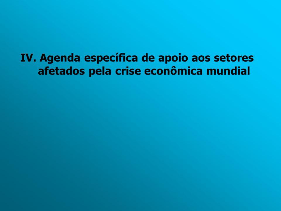 IV. Agenda específica de apoio aos setores afetados pela crise econômica mundial