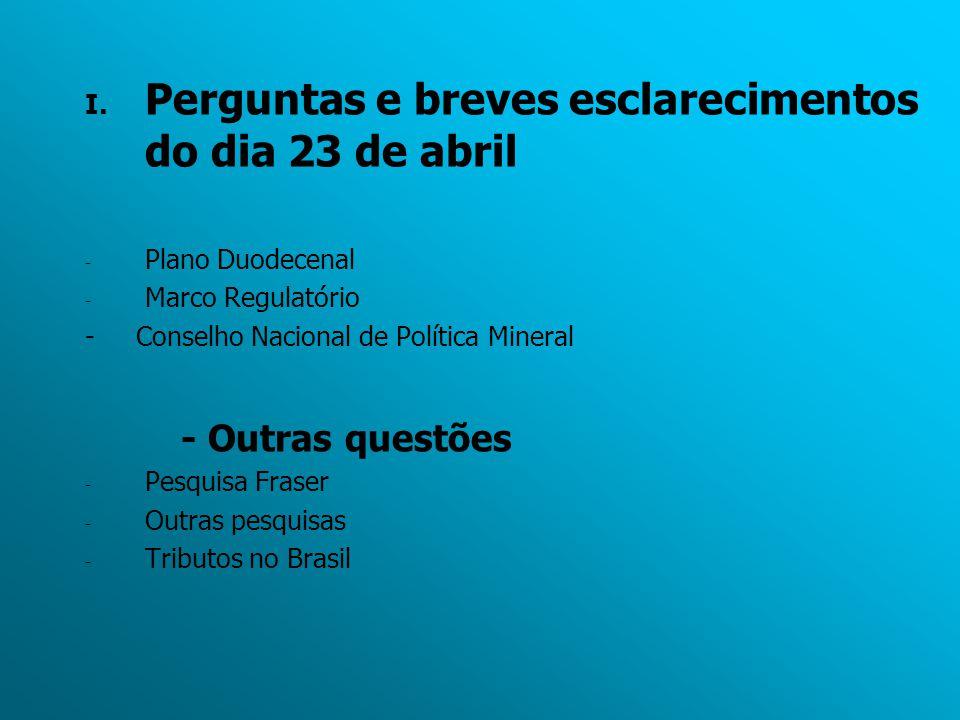 I. Perguntas e breves esclarecimentos do dia 23 de abril - Plano Duodecenal - Marco Regulatório - Conselho Nacional de Política Mineral - Outras quest